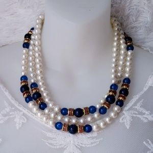 Vintage Layered Costume Pearl Necklace